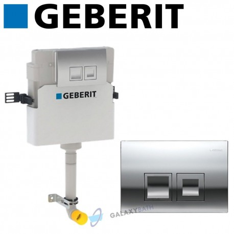Geberit Delta 50 Concealed Toilet Cistern + Chrome Dual Flush Plate 2in1 Set