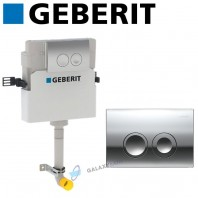 Geberit Delta 21 Concealed Toilet Cistern + Chrome Dual Flush Plate 2in1 Set