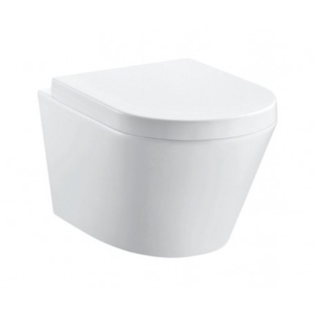 Imex Ceramics Arco Rimless Wall Hung Toilet Pan With Soft Close Seat 2in1 Set