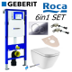 Geberit Up320 Sigma Frame+ Flush Plate + Roca Gap Rimless Wall Hung Toilet Pan With Soft Close Seat