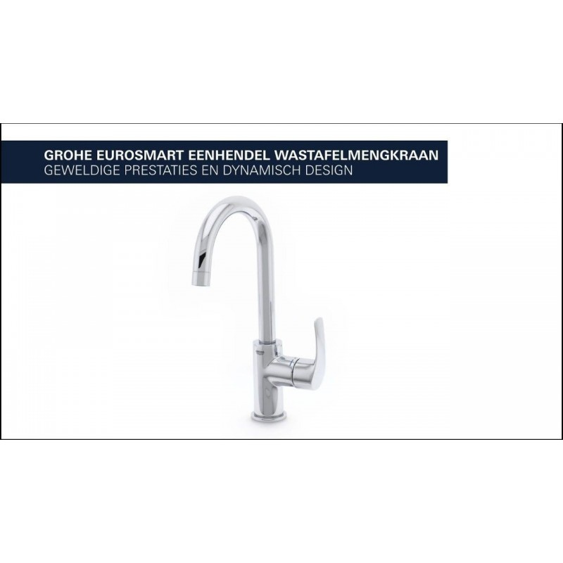 Grohe Eurosmart Basin Mixer Tap With Pop Up Waste Set High