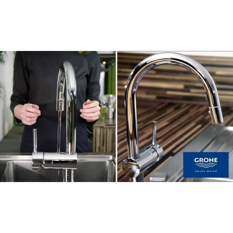 Grohe Minta Single Lever Kitchen Sink Mixer Tap Swivel Spout Pull O
