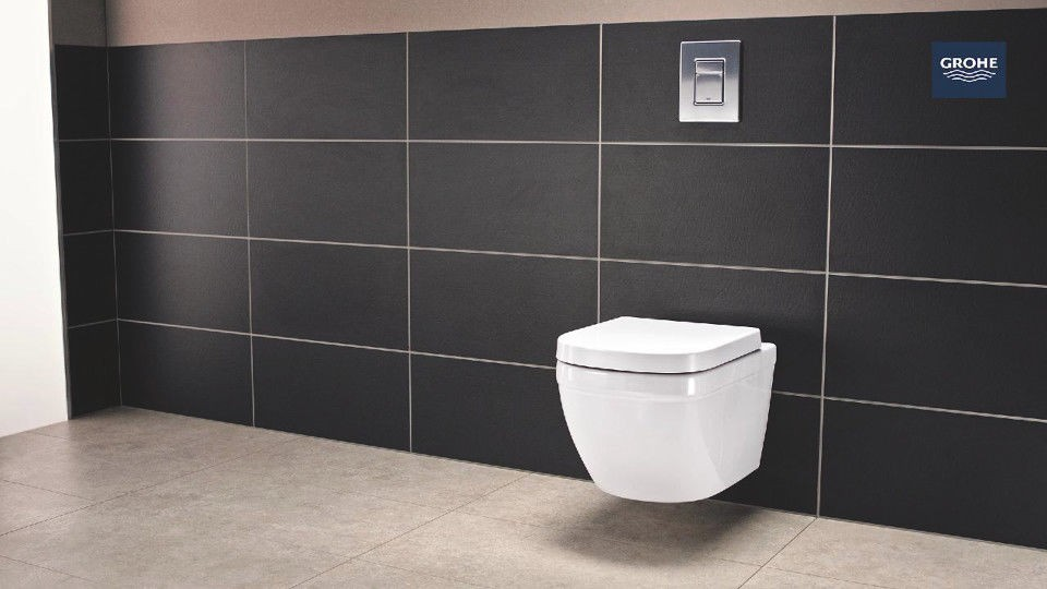 Grohe Euro Ceramic L Wc Rimless Wall Hung Toilet Pan With