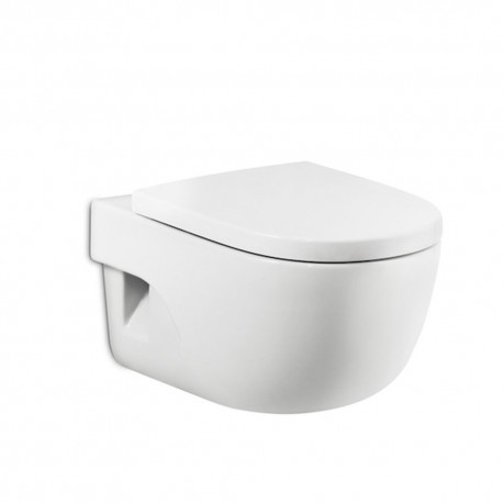 Roca Meridian Set Wall Hung Wc Toilet Pan With Soft Close Seat Horizontal Outlet