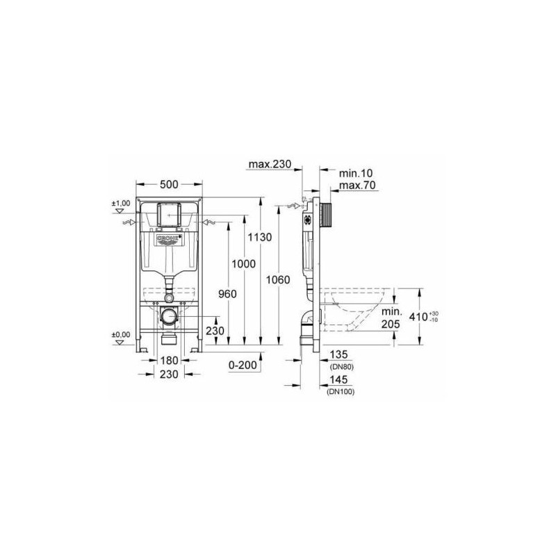 Grohe Rapid Sl Wc Frame Ideal Standard Alto Wall Hung