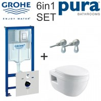 Rapid SL WC Set 1.13m Concealed Frame Cistern Plate Ivo Wall-hung Wc Bowl And Quick-release Seat 6in1 SET