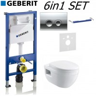 Geberit Up100 Delta 50 Frame + Ivo Wall Hung & Quick Release Seat 6in1 Set