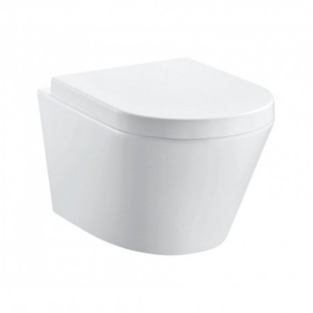 Arco Rimless 520mm Projection wall hung WC bowl with fixings and slim seat