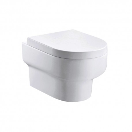 Duro Rimless wall hung WC bowl with fixings and slim wrap over quick release seat