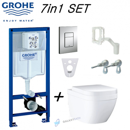 Grohe Wc Concealed Toilet Frame + Grohe Euro Ceramic S Compact Rimless Wall Hung Toilet Pan With Soft Close Seat 7in1 Set