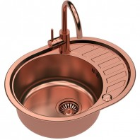 Quadron Clint 211 SteelQ Kitchen Sink With Ingrid Tall Mixer Tap 2in1 Set Copper Finish