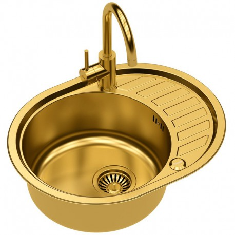 Quadron Clint 211 SteelQ Kitchen Sink With Ingrid Tall Mixer Tap 2in1 Set Gold Finish