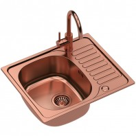 Quadron Sylvester 116 SteelQ Kitchen Sink With Ingrid Tall Mixer Tap 2in1 Set Copper Finish