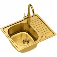 Quadron Sylvester 116 SteelQ Kitchen Sink With Ingrid Tall Mixer Tap 2in1 Set Gold Finish