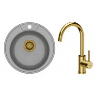 Quadron Danny 210 GraniteQ Kitchen Sink With Naomi Mixer Tap 2in1 Set Grey/Gold Finish