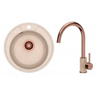 Quadron Danny 210 GraniteQ Kitchen Sink With Ingrid Tall Mixer Tap 2in1 Set Beige/Copper Finish