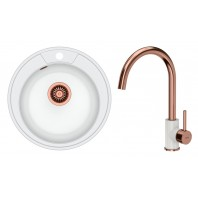 Quadron Danny 210 GraniteQ Kitchen Sink With Ingrid Tall Mixer Tap 2in1 Set White/Copper Finish
