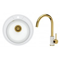 Quadron Danny 210 GraniteQ Kitchen Sink With Ingrid Tall Mixer Tap 2in1 Set White/Gold Finish