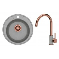 Quadron Danny 210 GraniteQ Kitchen Sink With Ingrid Tall Mixer Tap 2in1 Set Grey/Copper Finish
